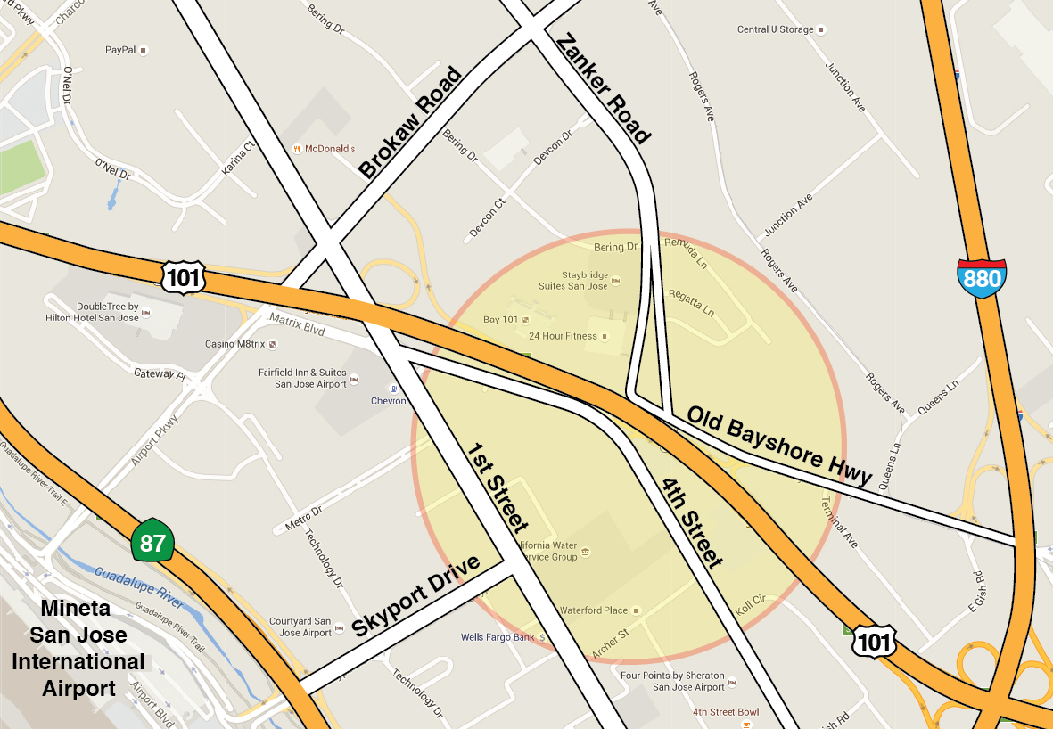 Map of 101 Zanker Road Interchange Project