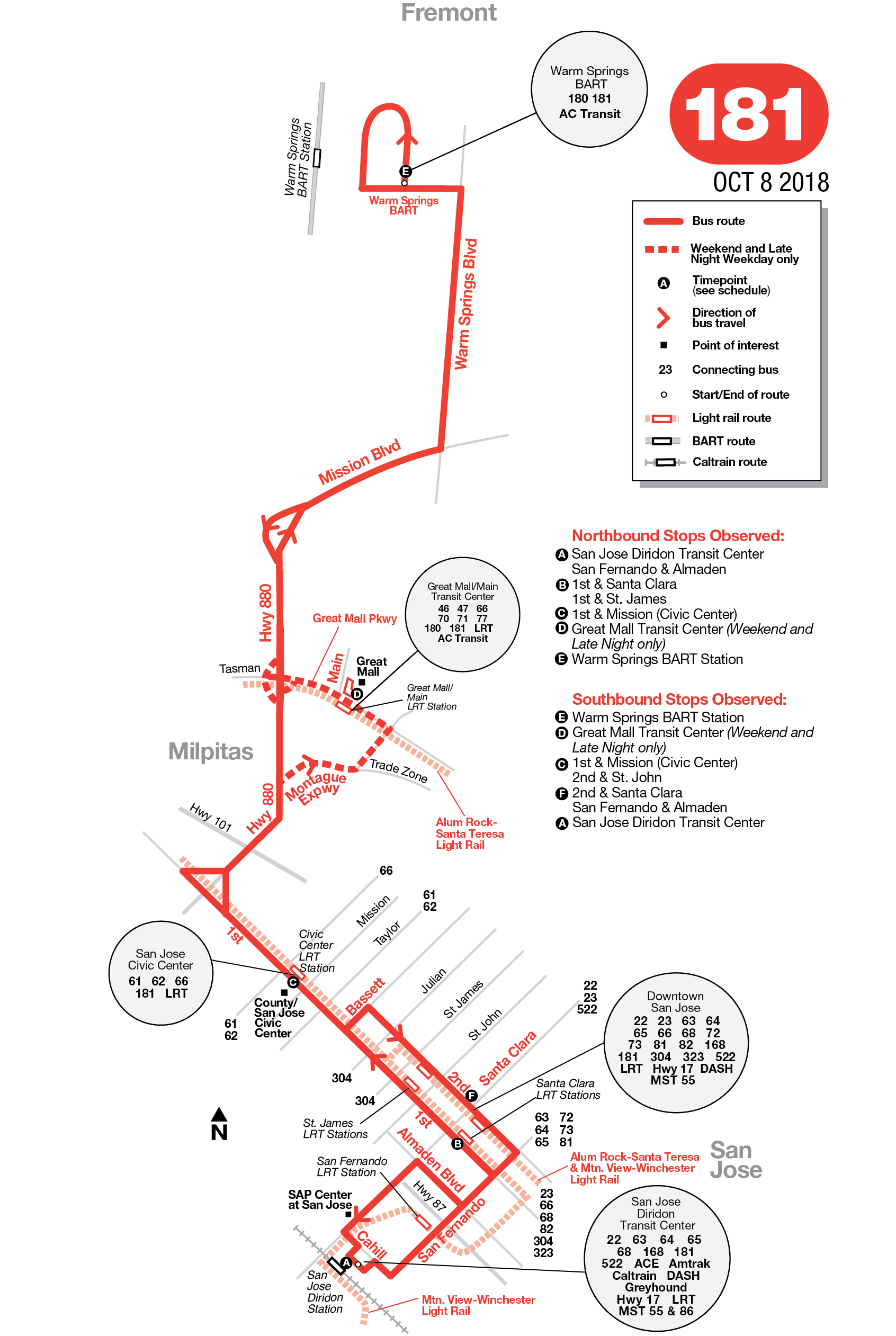 181 bus route - vta - sf bay transit