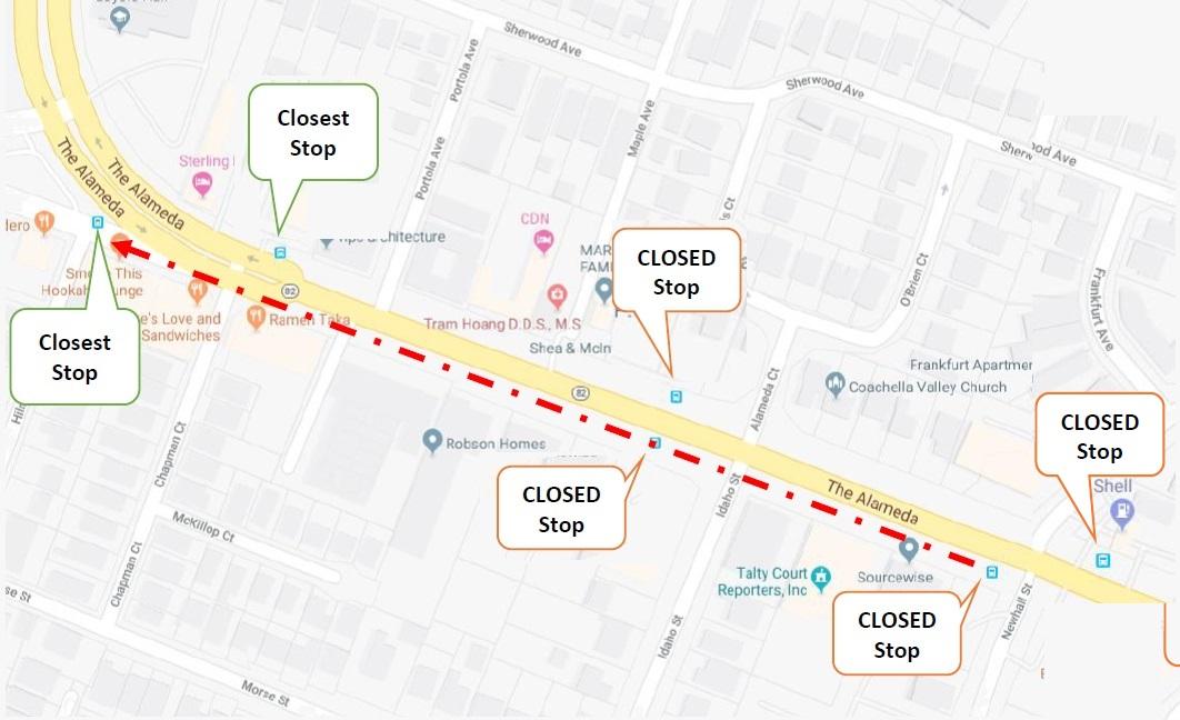 bus closure map