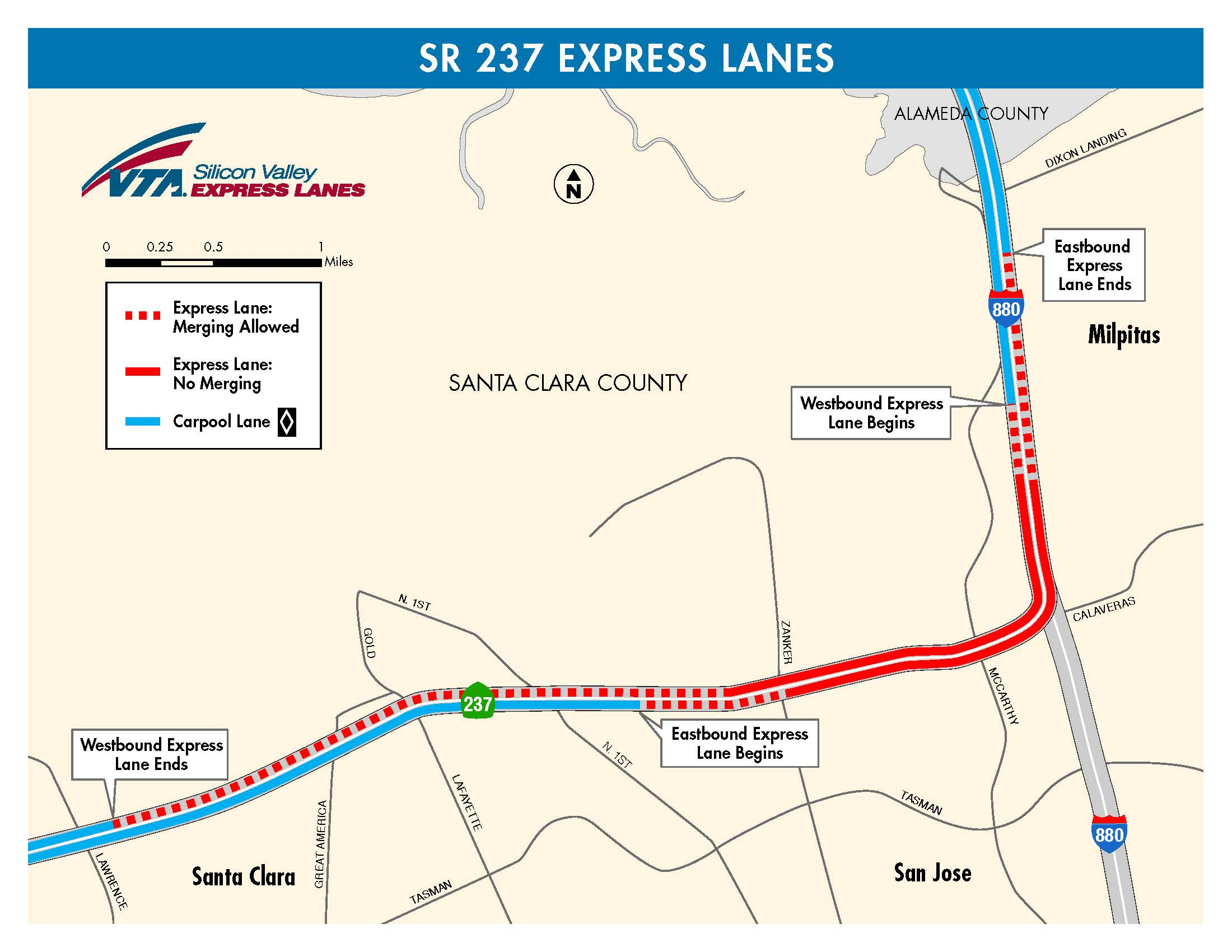 map showing boundaries of the express lanes on the 237 880 interchange