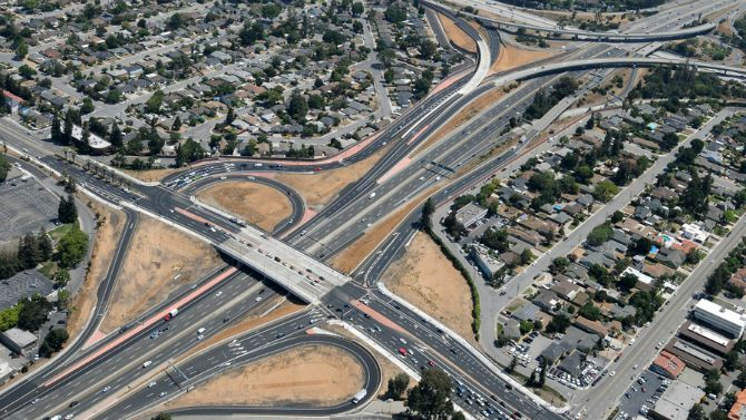 aerial view of 280 880 Stevens Creek Boulevard interchange improvements
