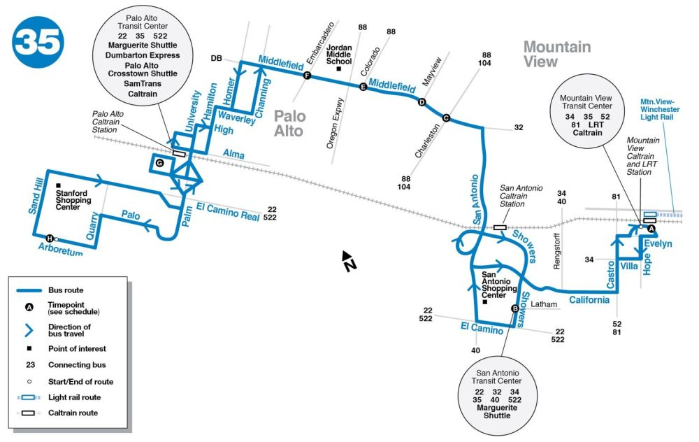 35 Bus Route Vta Sf Bay Transit