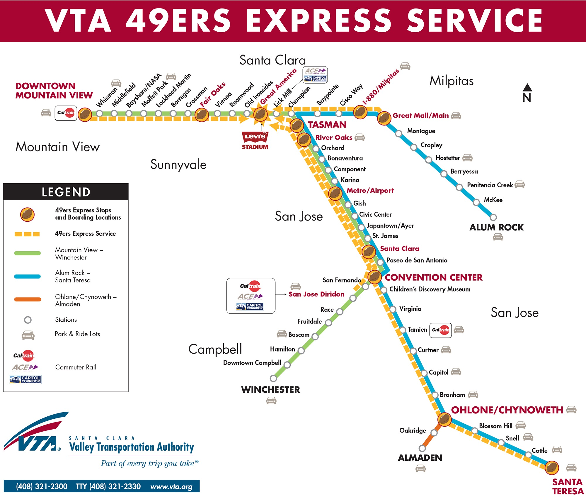to levi's® stadium is also available from fremont bart gilroy morganhill and vallco mall however the ers season pass only applies to lightrail. ers express train coming this season