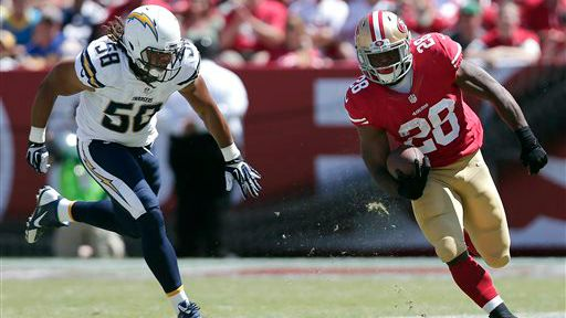 San Francisco 49ers player with San Diego Chargers player