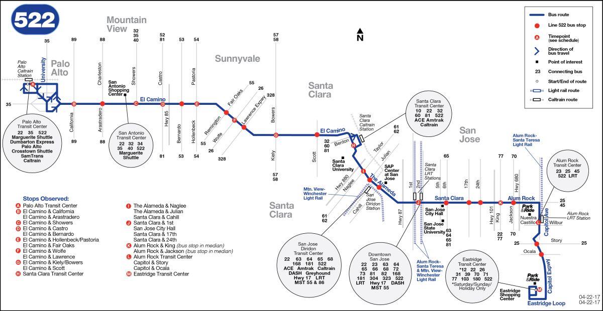 522 Bus Schedule Vta Sf Bay Transit