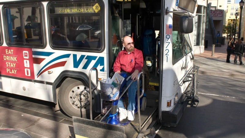 VTA customer in mobility device deboarding using extended ramp