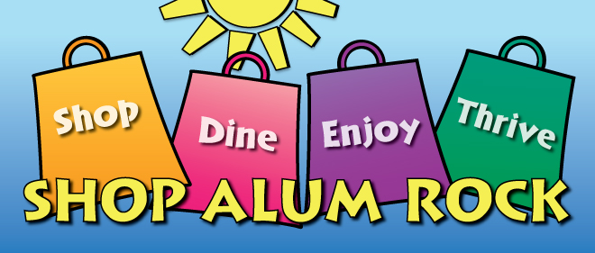 Shop Alum Rock campaign logo, including message to Shop Dine Explore Enjoy