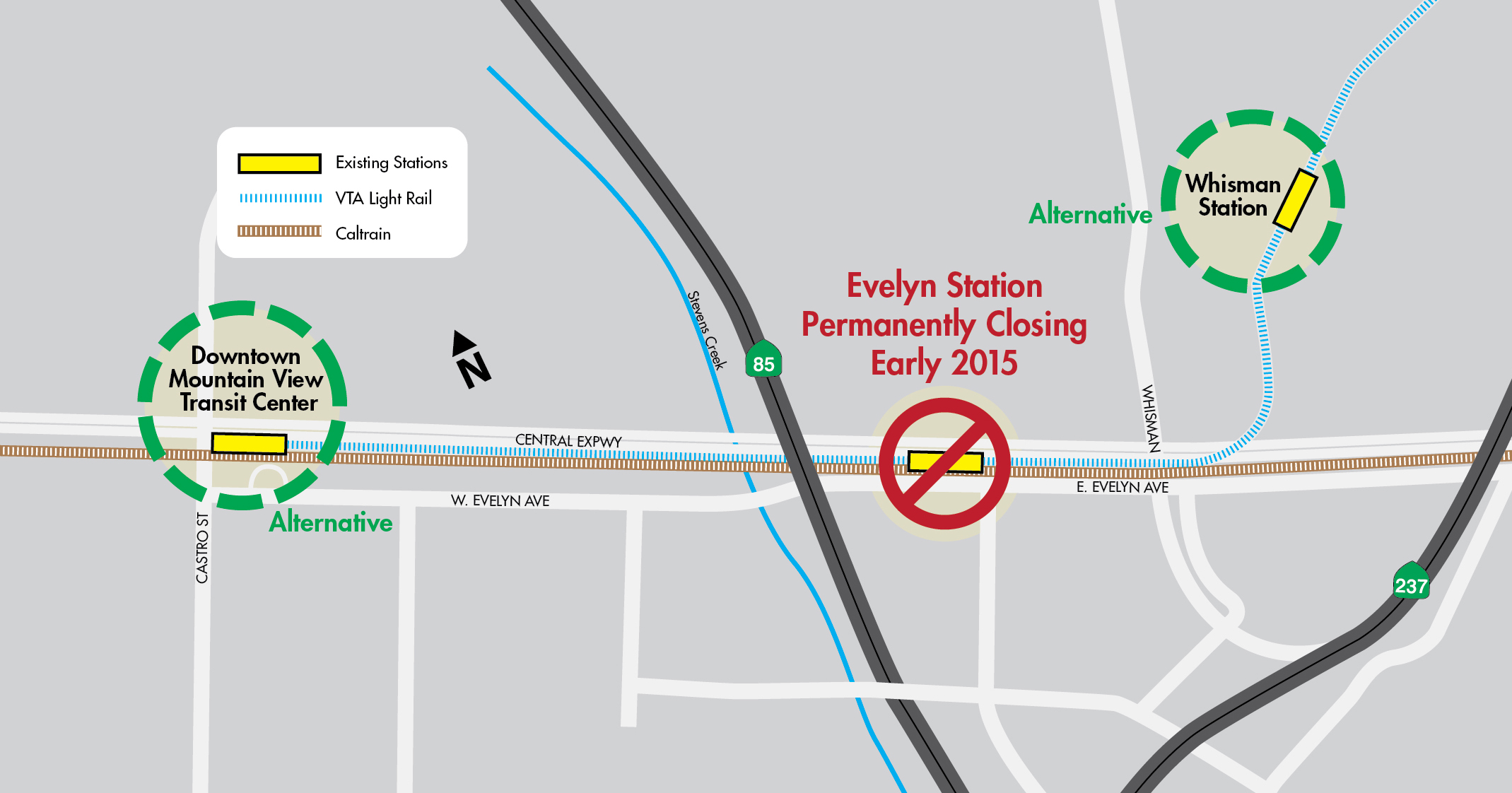 map showing Mountain View and Whisman stations as an alternative to Evelyn