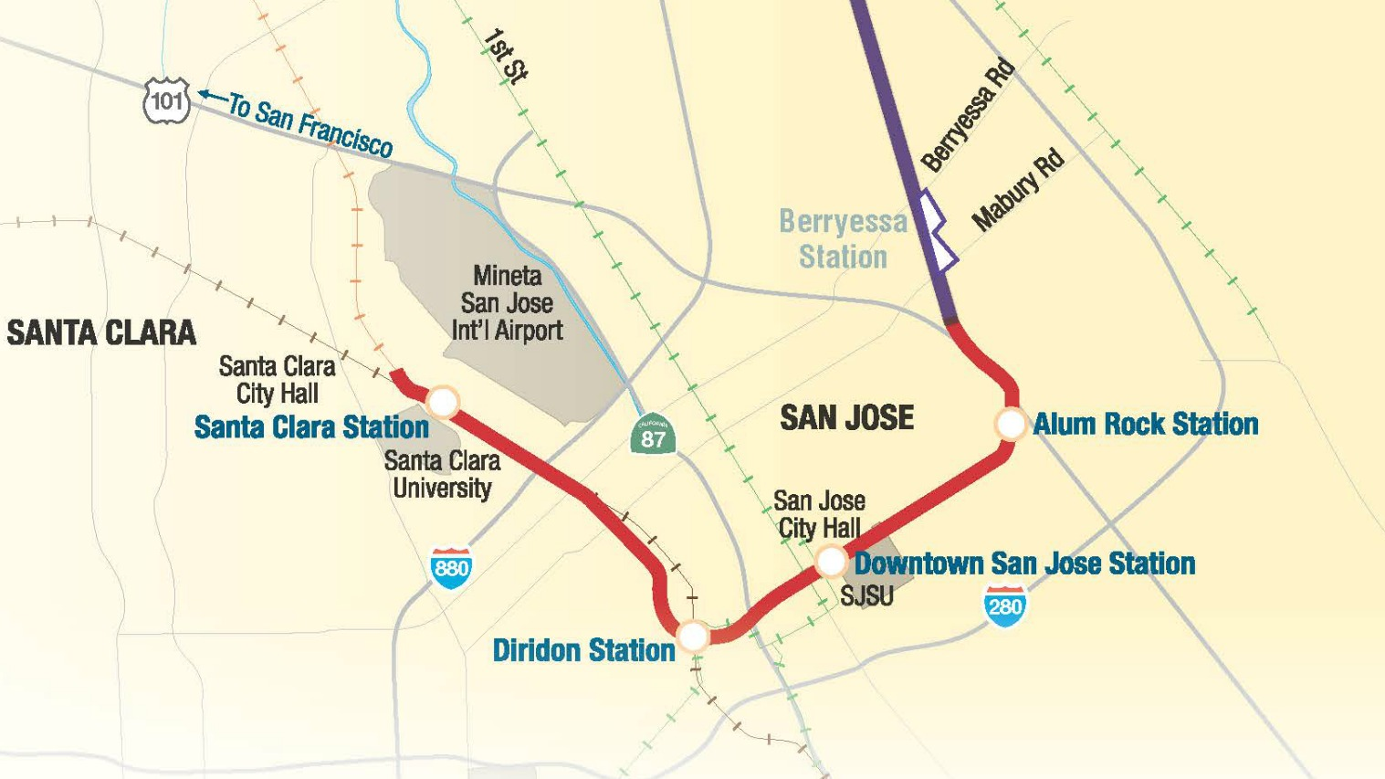 map showing BART Phase 2 route