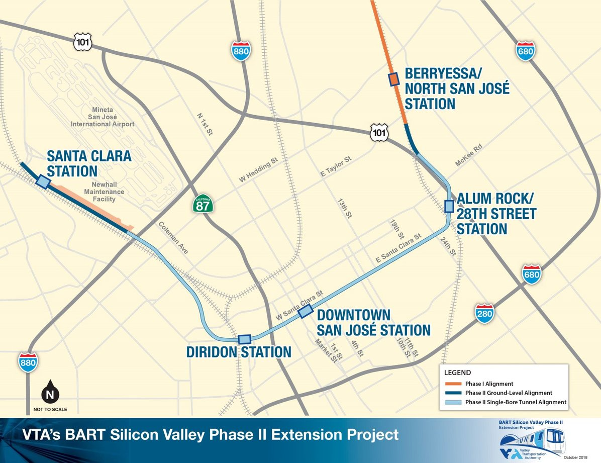 VTA's BART to Silicon Valley Phase II Proposed Alignment