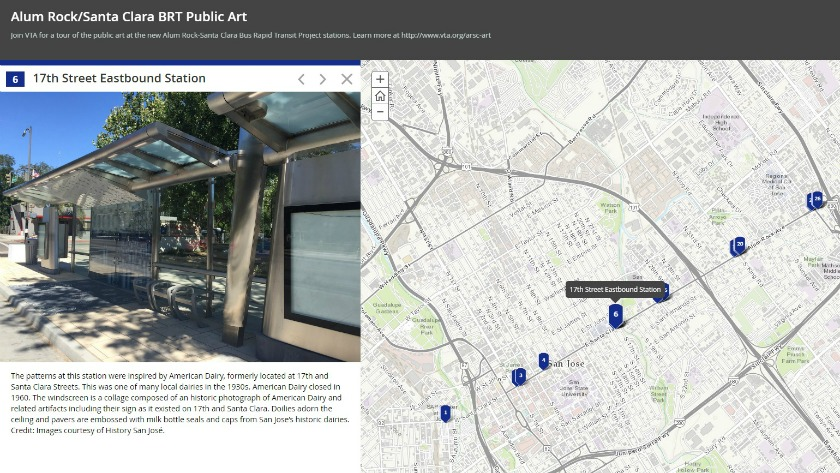 Screenshot of virtual tour map of Alum Rock Santa Clara Bus Rapid Transit public art