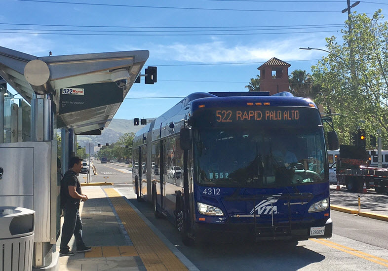 New BRT bus stop at King Rd and Alum Rock Ave