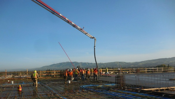 contractors pour cement for Berryessa BART garage