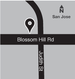 Map of bus stop at Blossom Hill Road and Judith Street