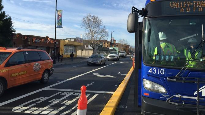 bus in BRT lane
