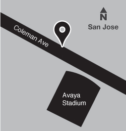 Map of bus stop on Coleman Ave near Earthquakes Way