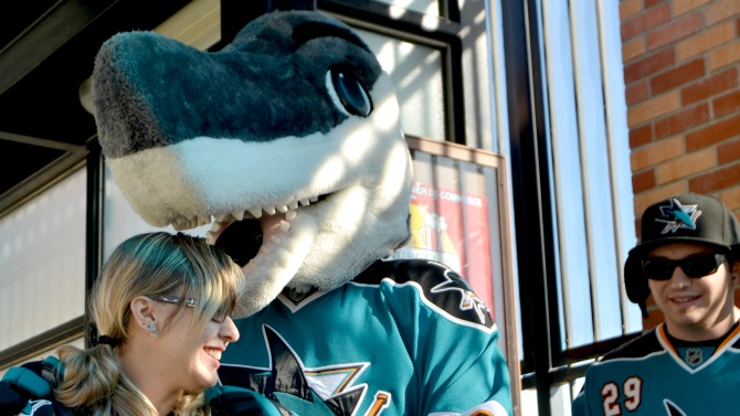 Sharks fans take VTA light rail to get to the game.