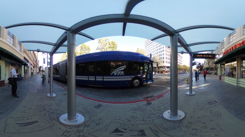 Panoramic photo showing VTA Rapid 522 bus at the Downtown San Jose Eastbound station