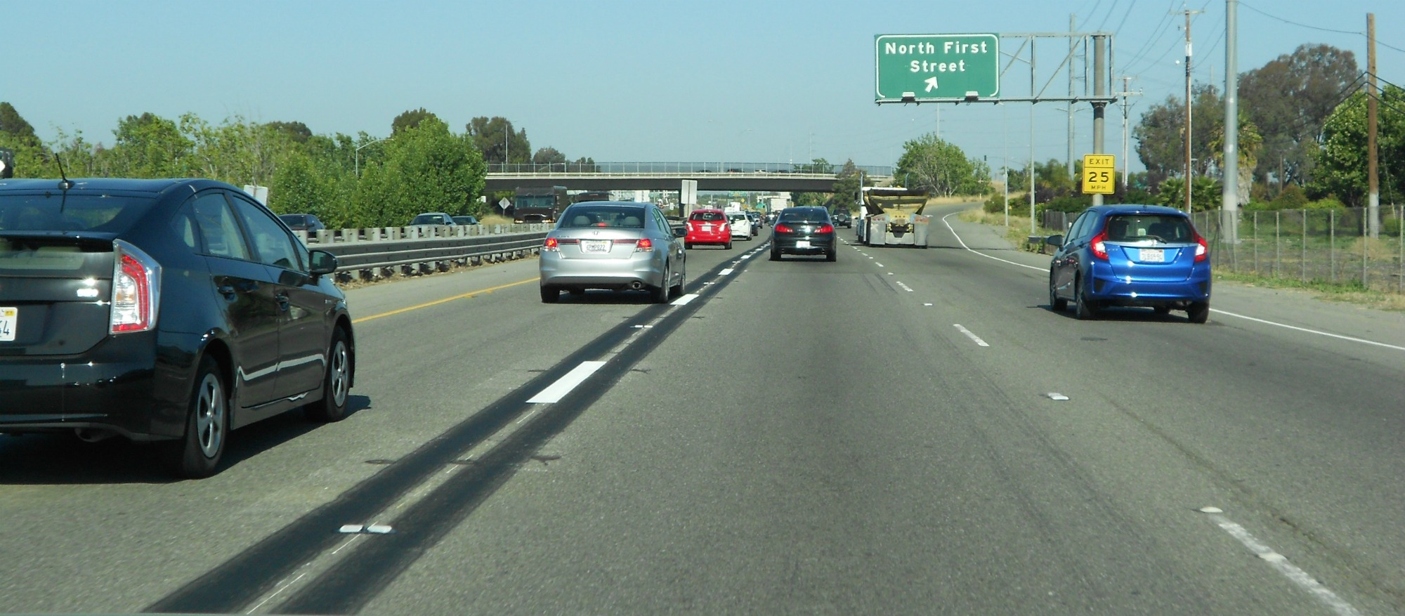 Dashed striping in the Westbound Express Lane near the North First Street Exit