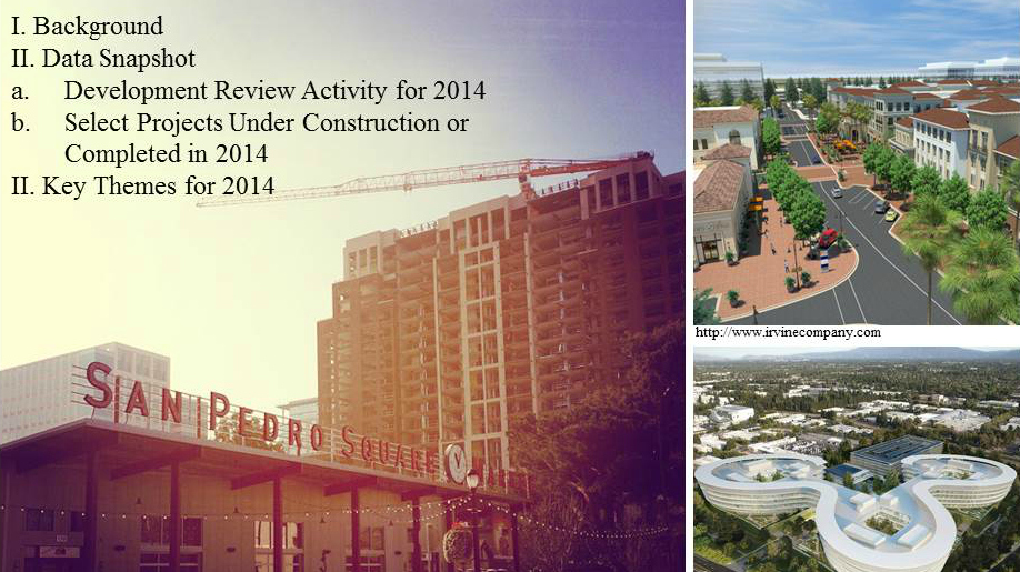 Cover slide of Annual Development Review Report showing renderings of various development projects in Santa Clara County