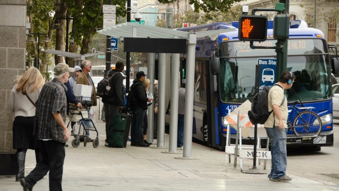 Bus at BRT stop downtown san jose