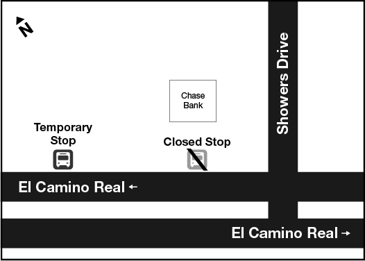 location of temporary bus stop