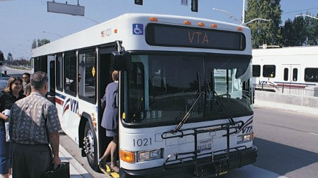 photo of people getting on VTA bus