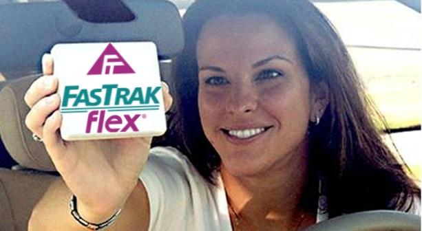 Cropped version of photo of woman placing FasTrak tag on her windshield