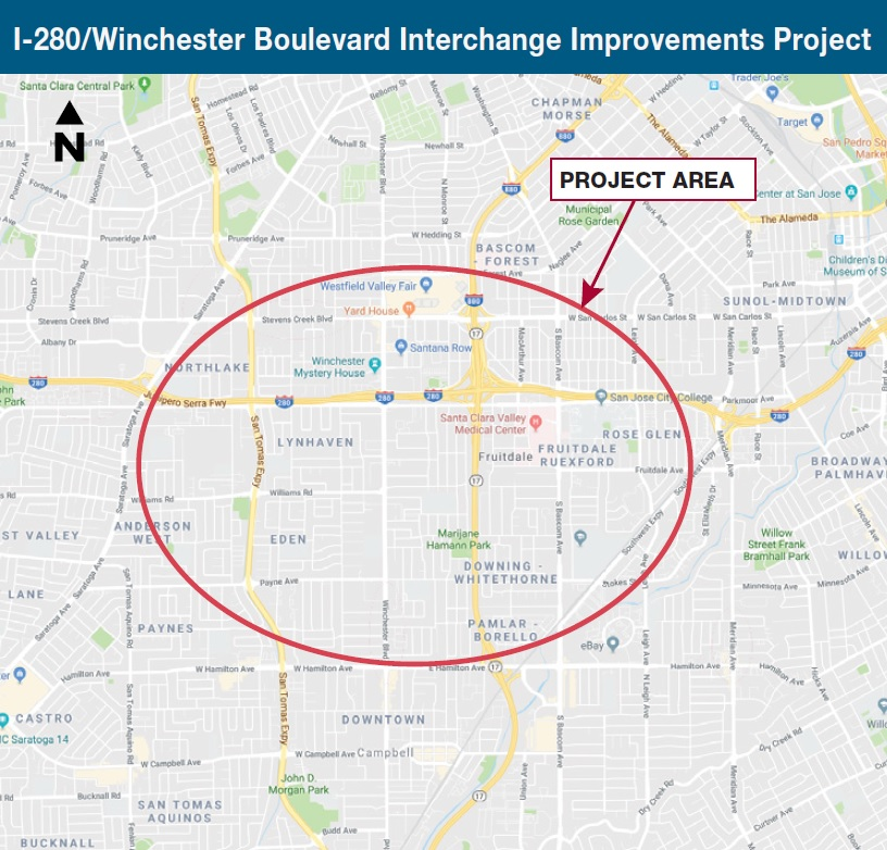 I280 Winchester Boulevard Interchange Project Area