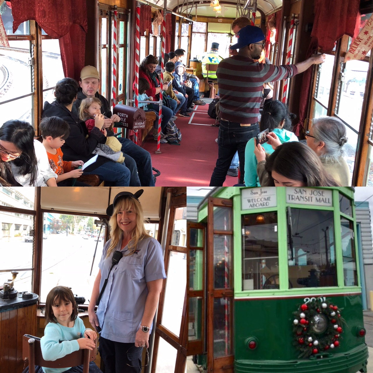 Photots of people riding VTA's Holiday Trolley