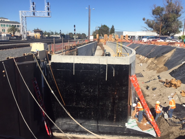 Santa Clara Pedestrian Undercrossing retaining wall construction