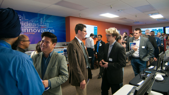 Photo of people at VTA's Innovation Center opening on Feb 18, 2015