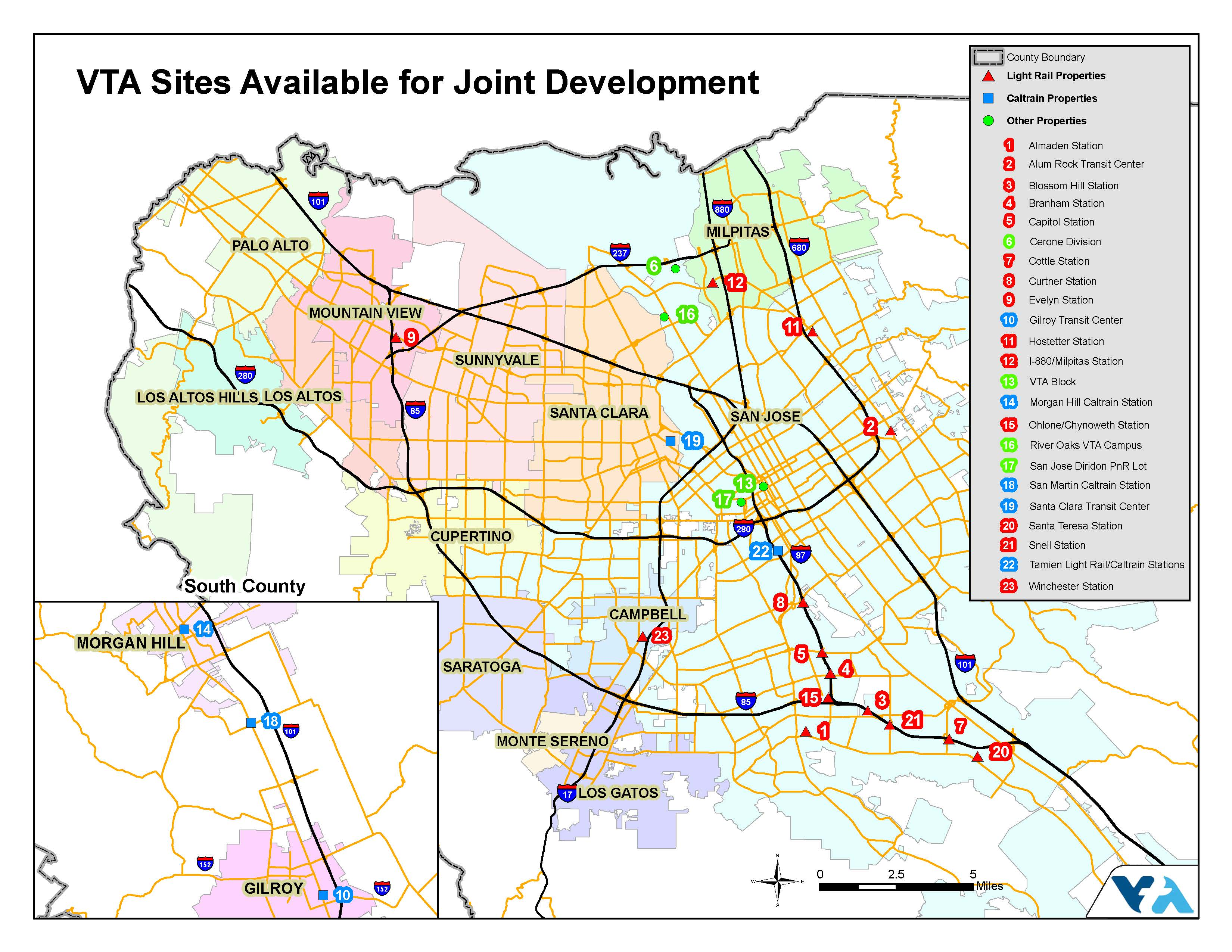 Map of all properties in santa clara county available for joint developement with vta