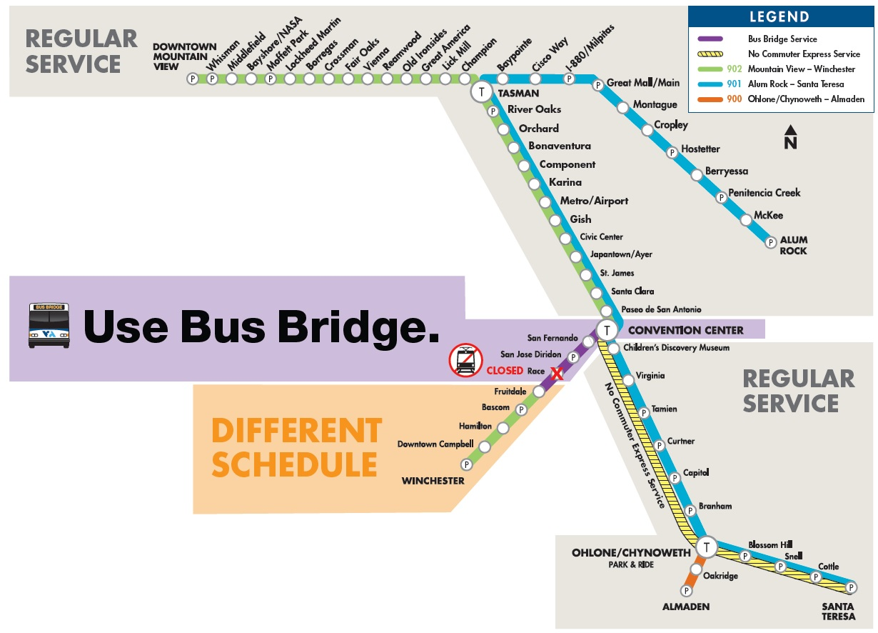 Convention Center to Fruitdale Bus Bridge, July 14 through July 15 all day and night.