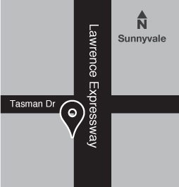 Map of bus stop on Lawrence Expressway near Tasman Drive