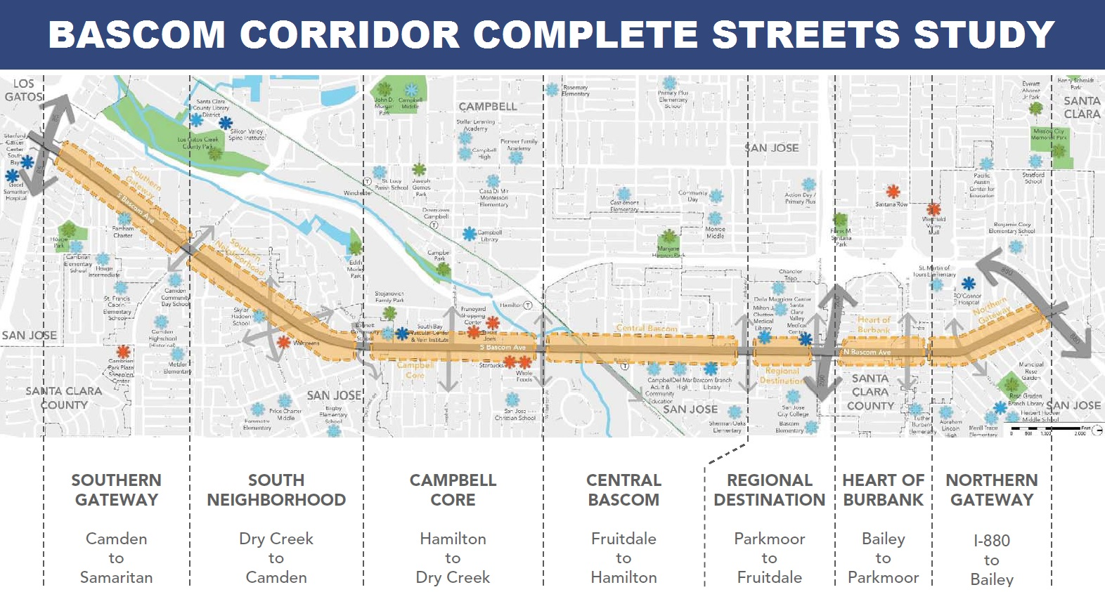 District Corridor Segments Map: Camden to Samaritan, Dry Creek to Camden, Hamilton to Dry Creek, Fruitdale to Hamilton, Parkmoor to Fruitdale, Bailey to Parkmoor, I-880 to Bailey.