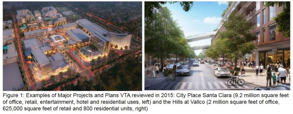 Renderings showing projects and plans VTA reviewed in its 2015 Annual Development Report, including City Place Santa Clara and the Hills at Vallco