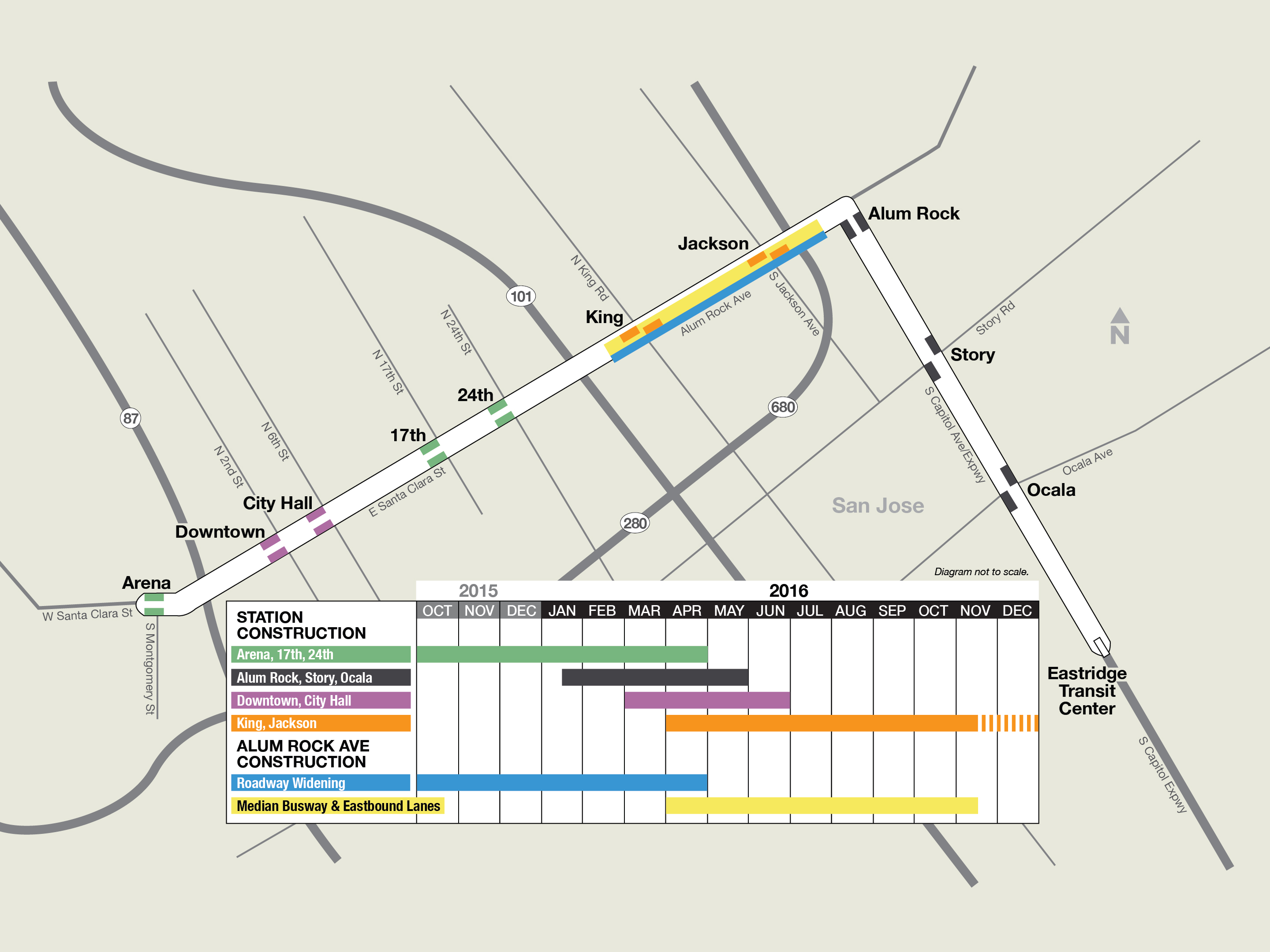 Alum Rock BRT construction map and timeline