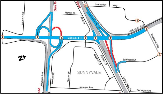 map of the Mathilda Avenue interchange