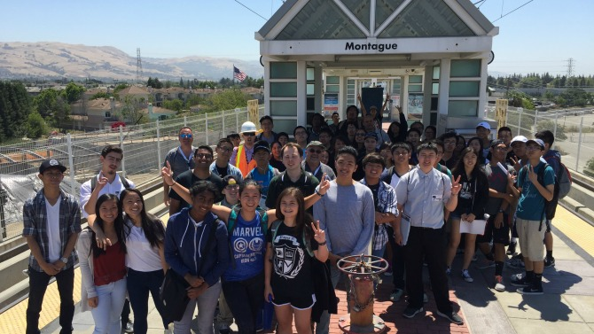 group of students touring BART project