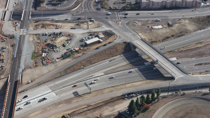 aerial photo of Mission Warren interchange in Fremont