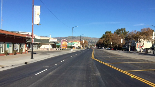 newly paved westbound lanes on Alum Rock Avenue