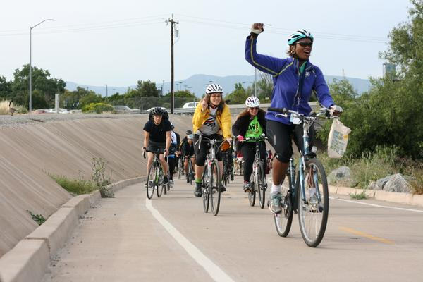 Nuria fernandez leading bike train