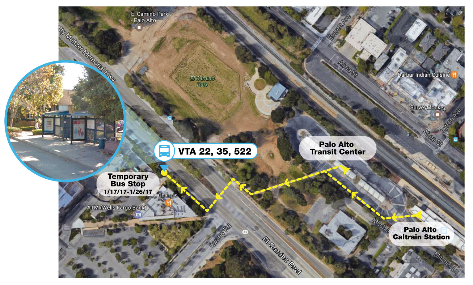 Palo Alto Transit Center detour map