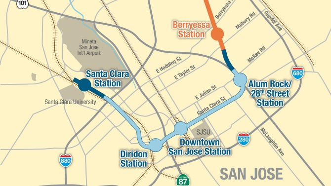 map of BART Phase 2 alignment with four stations proposed