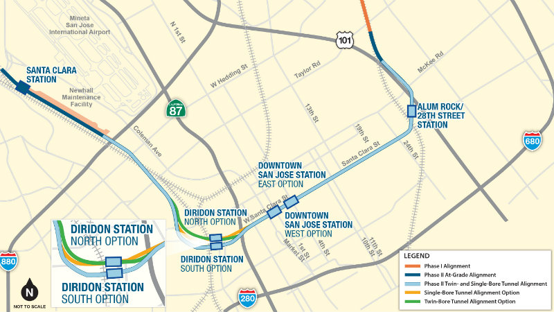 map of BART extension into downtown San Jose and Santa Clara