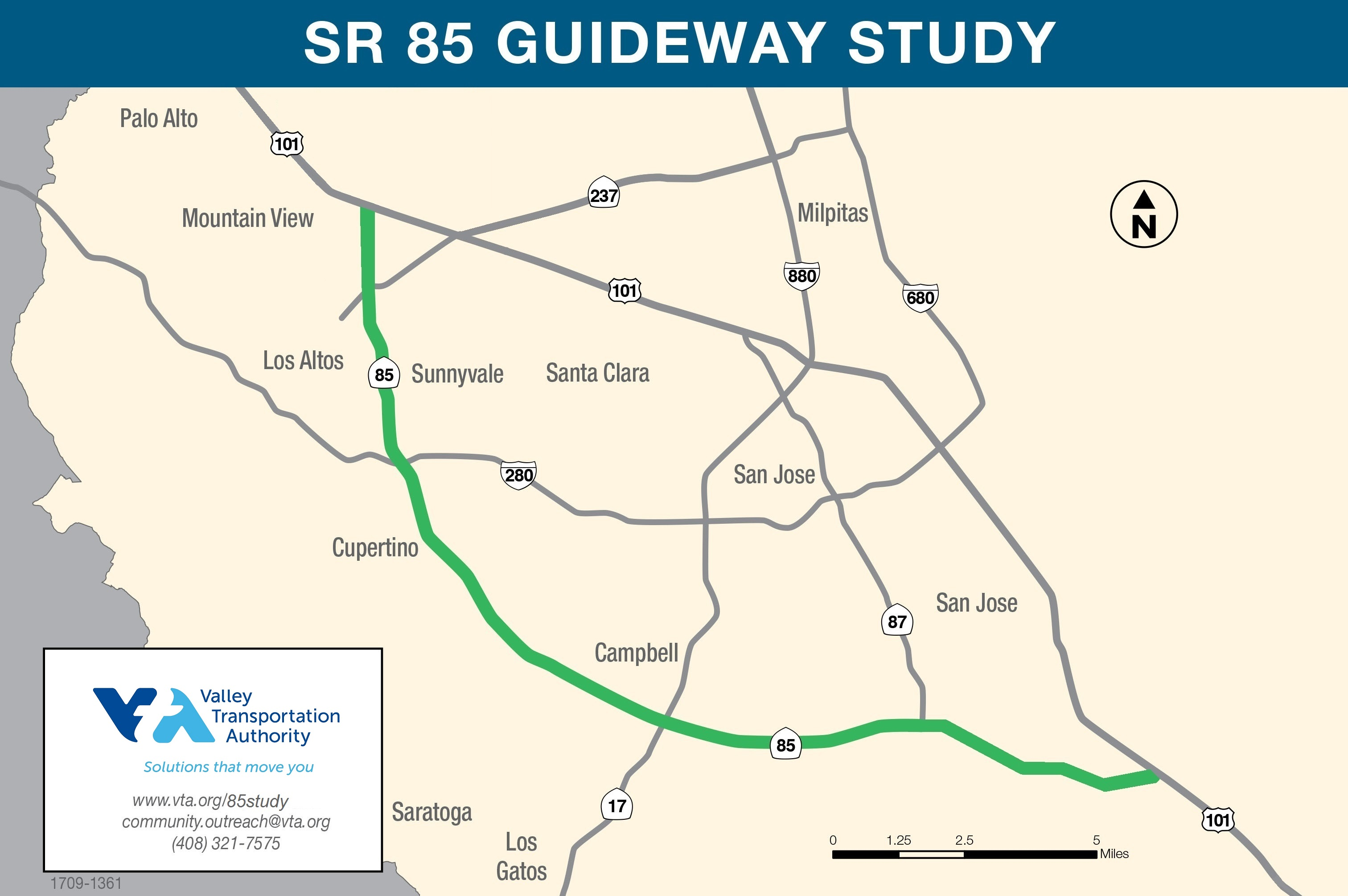State Route (SR) Transit Guideway Study, Project Map