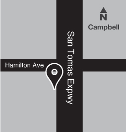 Map of bus stop on San Tomas Expressway near Hamilton Avenue
