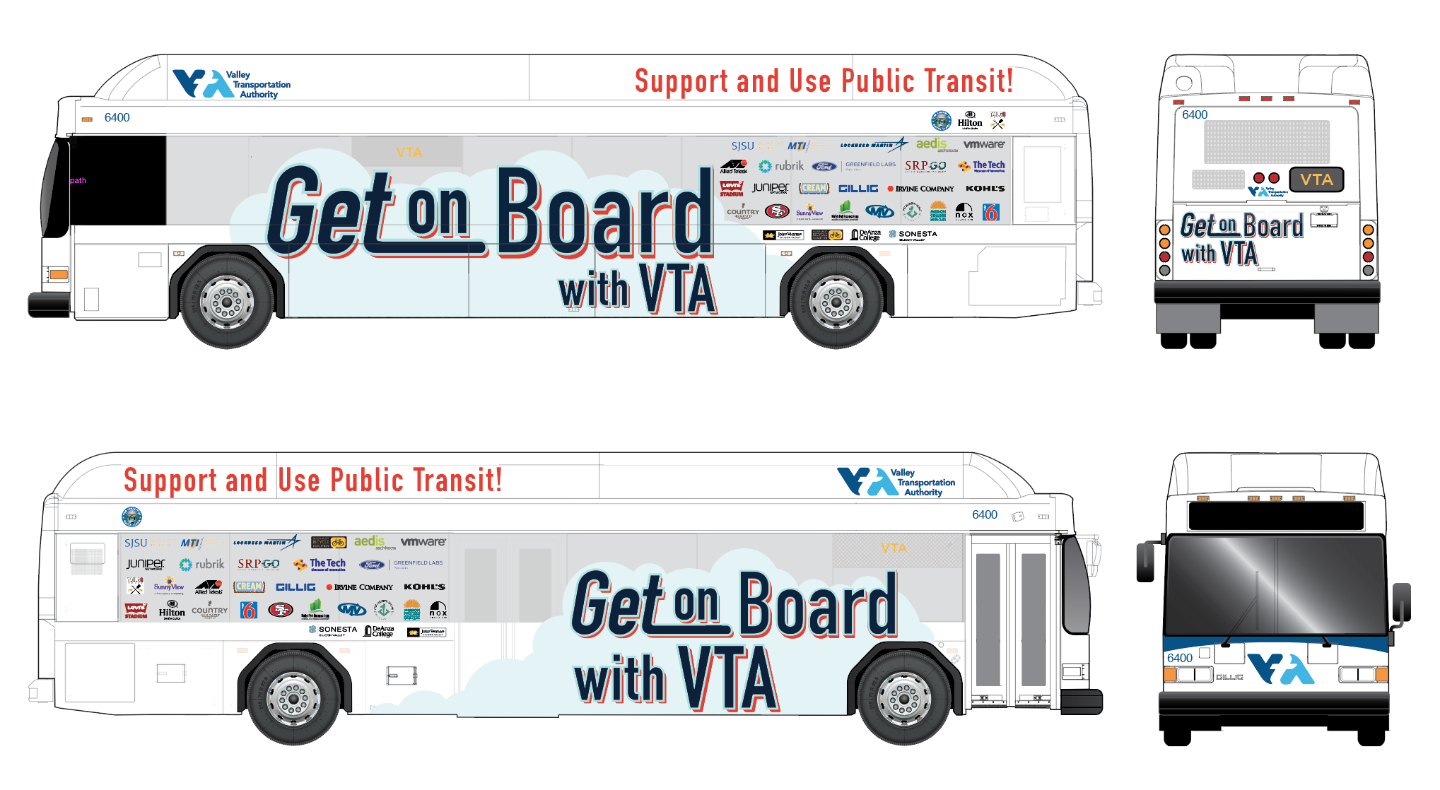 Image of VTA bus wrapped with partners of logos supporting Get on Board Day