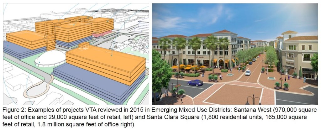 Renderings of projects VTA reviewed in its 2015 Annual Development report in Emerging Mixed Use Districts: Santana West and Santa Clara Square